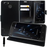 """Blackview A7 Pro 4G 5.0"""" (non compatible Blackview A7): Accessoire Etui portefeuille Livre Housse Coque Pochette support vidéo cuir PU + mini Stylet - NOIR"""