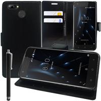 """Blackview A7 Pro 4G 5.0"""" (non compatible Blackview A7): Accessoire Etui portefeuille Livre Housse Coque Pochette support vidéo cuir PU + Stylet - NOIR"""