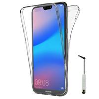 """Huawei P20 Lite/ Nova 3e 5.84"""" (non compatible Huawei P20/ P20 Pro): Coque Housse Silicone Gel TRANSPARENTE ultra mince 360° protection intégrale Avant et Arrière + mini Stylet - TRANSPARENT"""
