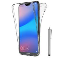 """Huawei P20 Lite/ Nova 3e 5.84"""" (non compatible Huawei P20/ P20 Pro): Coque Housse Silicone Gel TRANSPARENTE ultra mince 360° protection intégrale Avant et Arrière + Stylet - TRANSPARENT"""