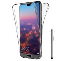 """Huawei P20 Pro 6.1"""" (non compatible Huawei P20/ P20 Lite): Coque Housse Silicone Gel TRANSPARENTE ultra mince 360° protection intégrale Avant et Arrière + Stylet - TRANSPARENT"""
