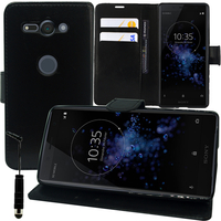 """Sony Xperia XZ2 Compact 5.0"""" H8314 H8324 (Sony PF32) (non compatible Xperia XZ2 5.7""""): Accessoire Etui portefeuille Livre Housse Coque Pochette support vidéo cuir PU + mini Stylet - NOIR"""