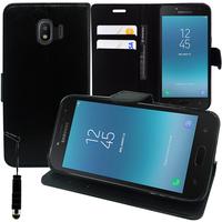 """Samsung Galaxy J2 Pro (2018) SM-J250F/ Galaxy Grand Prime Pro (2018) 5.0"""": Accessoire Etui portefeuille Livre Housse Coque Pochette support vidéo cuir PU + mini Stylet - NOIR"""