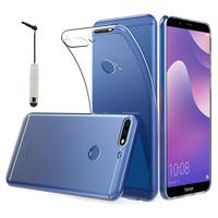 """Huawei Y7 (2018) 5.99"""" (non compatible Huawei Y7 5.5"""" 2017): Accessoire Housse Etui Coque gel UltraSlim et Ajustement parfait + mini Stylet - TRANSPARENT"""