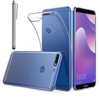 """Huawei Y7 (2018) 5.99"""" (non compatible Huawei Y7 5.5"""" 2017): Accessoire Housse Etui Coque gel UltraSlim et Ajustement parfait + Stylet - TRANSPARENT"""