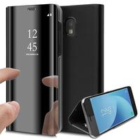 Samsung Galaxy J5 Pro (2017) J530Y/DS: Clear View Housse Etui Flip Folio Support Vidéo Effet Mirroir - NOIR