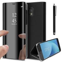 Samsung Galaxy J5 Pro (2017) J530Y/DS: Clear View Housse Etui Flip Folio Support Vidéo Effet Mirroir + Stylet - NOIR