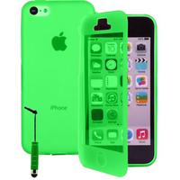 Apple iPhone 4/ 4S/ 4G: Accessoire Coque Etui Housse Pochette silicone gel Portefeuille Livre rabat + mini Stylet - VERT