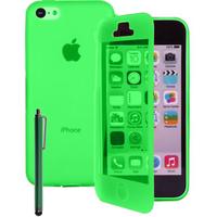 Apple iPhone 4/ 4S/ 4G: Accessoire Coque Etui Housse Pochette silicone gel Portefeuille Livre rabat + Stylet - VERT