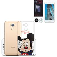 "Huawei Honor 6A 5.0"": Coque Housse silicone TPU Transparente Ultra-Fine Dessin animé jolie - Mickey Mouse + 1 Film de protection d'écran Verre Trempé"