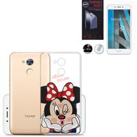 """Huawei Honor 6A 5.0"""": Coque Housse silicone TPU Transparente Ultra-Fine Dessin animé jolie - Minnie Mouse + 1 Film de protection d'écran Verre Trempé"""