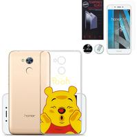 "Huawei Honor 6A 5.0"": Coque Housse silicone TPU Transparente Ultra-Fine Dessin animé jolie - Winnie the Pooh + 1 Film de protection d'écran Verre Trempé"
