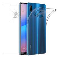 """Huawei P20 Lite/ Nova 3e 5.84"""" (non compatible Huawei P20/ P20 Pro): Etui Housse Pochette Accessoires Coque gel UltraSlim - TRANSPARENT + 1 Film de protection d'écran Verre Trempé"""