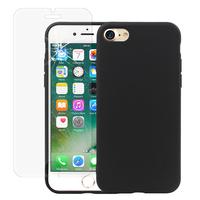 """Apple iPhone 7 4.7"""" (non compatible iPhone 7 Plus 5.5''): Coque TPU silicone mat souple ultra-fine dos couverture - NOIR + 1 Film de protection d'écran Verre Trempé"""