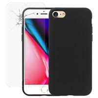 """Apple iPhone 8 4.7"""": Coque TPU silicone mat souple ultra-fine dos couverture - NOIR + 1 Film de protection d'écran Verre Trempé"""