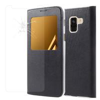 """Samsung Galaxy A8 (2018) A530F 5.6""""/ A8 (2018) Duos A530F/DS: Etui View Case Flip Folio Leather cover - NOIR + 1 Film de protection d'écran Verre Trempé"""