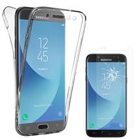 Samsung Galaxy J5 (2017) SM-J750F/DS: Coque Housse Silicone Gel TRANSPARENTE ultra mince 360° protection intégrale Avant et Arrière - TRANSPARENT + 1 Film de protection d'écran Verre Trempé
