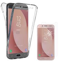 Samsung Galaxy J7 (2017) SM-J730F/DS: Coque Housse Silicone Gel TRANSPARENTE ultra mince 360° protection intégrale Avant et Arrière - TRANSPARENT + 1 Film de protection d'écran Verre Trempé