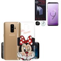 """Samsung Galaxy S9+/ S9 Plus 6.2"""": Coque Housse silicone TPU Transparente Ultra-Fine Dessin animé jolie - Minnie Mouse + 1 Film de protection d'écran Verre Trempé"""
