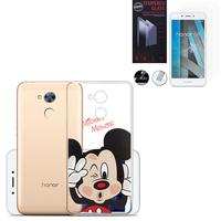"""Huawei Honor 6A 5.0"""": Coque Housse silicone TPU Transparente Ultra-Fine Dessin animé jolie - Mickey Mouse + 2 Films de protection d'écran Verre Trempé"""