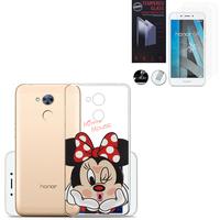 """Huawei Honor 6A 5.0"""": Coque Housse silicone TPU Transparente Ultra-Fine Dessin animé jolie - Minnie Mouse + 2 Films de protection d'écran Verre Trempé"""
