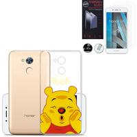 """Huawei Honor 6A 5.0"""": Coque Housse silicone TPU Transparente Ultra-Fine Dessin animé jolie - Winnie the Pooh + 2 Films de protection d'écran Verre Trempé"""