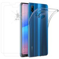 """Huawei P20 Lite/ Nova 3e 5.84"""" (non compatible Huawei P20/ P20 Pro): Etui Housse Pochette Accessoires Coque gel UltraSlim - TRANSPARENT + 2 Films de protection d'écran Verre Trempé"""