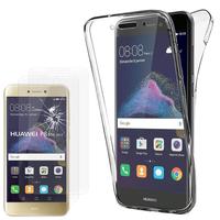 """Huawei P8 Lite (2017) 5.2""""/ P9 Lite (2017): Coque Housse Silicone Gel TRANSPARENTE ultra mince 360° protection intégrale Avant et Arrière - TRANSPARENT + 2 Films de protection d'écran Verre Trempé"""