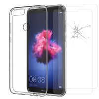 "Huawei P smart 5.65""/ Enjoy 7S FIG-LX1/ LA1/ LX2/ LX3: Etui Housse Pochette Accessoires Coque gel UltraSlim - TRANSPARENT + 2 Films de protection d'écran Verre Trempé"