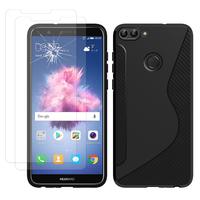 """Huawei P smart 5.65""""/ Enjoy 7S FIG-LX1/ LA1/ LX2/ LX3: Coque Etui Housse Pochette Accessoires Silicone Gel motif S-Line - NOIR + 2 Films de protection d'écran Verre Trempé"""