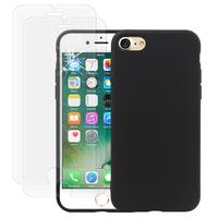 """Apple iPhone 7 4.7"""" (non compatible iPhone 7 Plus 5.5''): Coque TPU silicone mat souple ultra-fine dos couverture - NOIR + 2 Films de protection d'écran Verre Trempé"""