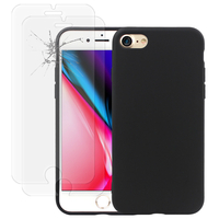 """Apple iPhone 8 4.7"""": Coque TPU silicone mat souple ultra-fine dos couverture - NOIR + 2 Films de protection d'écran Verre Trempé"""