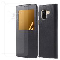 """Samsung Galaxy A8 (2018) A530F 5.6""""/ A8 (2018) Duos A530F/DS: Etui View Case Flip Folio Leather cover - NOIR + 2 Films de protection d'écran Verre Trempé"""