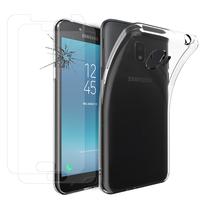 """Samsung Galaxy J2 Pro (2018) SM-J250F/ Galaxy Grand Prime Pro (2018) 5.0"""": Etui Housse Pochette Accessoires Coque gel UltraSlim - TRANSPARENT + 2 Films de protection d'écran Verre Trempé"""