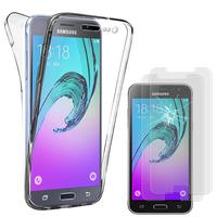 Samsung Galaxy J3 (2016) J320F/ Galaxy Amp Prime: Coque Silicone Gel TRANSPARENTE ultra mince 360° protection intégrale Avant et Arrière - TRANSPARENT + 2 Films de protection d'écran Verre Trempé