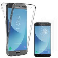 Samsung Galaxy J5 (2017) SM-J750F/DS: Coque Housse Silicone Gel TRANSPARENTE ultra mince 360° protection intégrale Avant et Arrière - TRANSPARENT + 2 Films de protection d'écran Verre Trempé