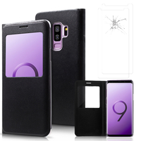 "Samsung Galaxy S9+/ S9 Plus 6.2"": Etui View Case Flip Folio Leather cover - NOIR + 2 Films de protection d'écran Verre Trempé"
