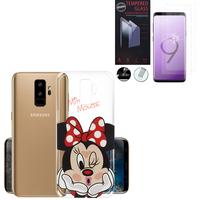 """Samsung Galaxy S9+/ S9 Plus 6.2"""": Coque Housse silicone TPU Transparente Ultra-Fine Dessin animé jolie - Minnie Mouse + 2 Films de protection d'écran Verre Trempé"""