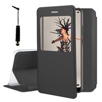 "Huawei P20 5.8"" (non compatible Huawei P20 Pro/ P20 lite): Etui View Case Flip Folio Leather cover + mini Stylet - NOIR"