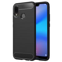 """Huawei P20 Lite/ Nova 3e 5.84"""" (non compatible Huawei P20/ P20 Pro): Coque Housse Silicone Souple en Fibre de Carbone Brossé motif TPU Case - NOIR"""