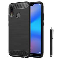 """Huawei P20 Lite/ Nova 3e 5.84"""" (non compatible Huawei P20/ P20 Pro): Coque Housse Silicone Souple en Fibre de Carbone Brossé motif TPU Case + Stylet - NOIR"""