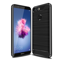 "Huawei P smart 5.65""/ Enjoy 7S FIG-LX1/ LA1/ LX2/ LX3: Coque Housse Silicone Souple en Fibre de Carbone Brossé motif TPU Case - NOIR"