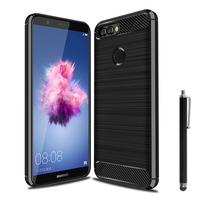 """Huawei P smart 5.65""""/ Enjoy 7S FIG-LX1/ LA1/ LX2/ LX3: Coque Housse Silicone Souple en Fibre de Carbone Brossé motif TPU Case + Stylet - NOIR"""