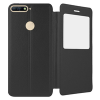 """Huawei Y6 (2018) 5.7"""" (non compatible Huawei Y6 (2017) 5.0""""): Etui View Case Flip Folio Leather cover + Stylet - NOIR"""