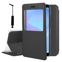 """Huawei Y6 (2018) 5.7"""" (non compatible Huawei Y6 (2017) 5.0""""): Etui View Case Flip Folio Leather cover + mini Stylet - NOIR"""