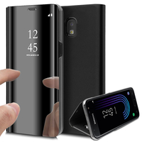 Samsung Galaxy J3 (2017) J330F/DS/ J330G/DS/ J3 Pro (2017) (non compatible Galaxy J3 2016/ 2015): Clear View Housse Etui Flip Folio Support Vidéo Effet Mirroir - NOIR