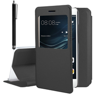 Huawei P9 lite/ G9 Lite (non compatible Huawei P9/ P9 Plus): Etui View Case Flip Folio Leather cover + Stylet - NOIR