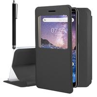 """Nokia 7 Plus 6.0"""" (non compatible Nokia 7 5.2""""): Etui View Case Flip Folio Leather cover + Stylet - NOIR"""