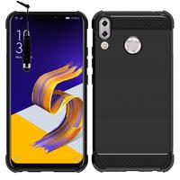 """Asus Zenfone 5 ZE620KL/ Zenfone 5z ZS620KL 6.2"""" (2018): Coque Housse Silicone Souple en Fibre de Carbone Brossé motif TPU Case + mini Stylet - NOIR"""