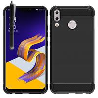"""Asus Zenfone 5 ZE620KL/ Zenfone 5z ZS620KL 6.2"""" (2018): Coque Housse Silicone Souple en Fibre de Carbone Brossé motif TPU Case + Stylet - NOIR"""